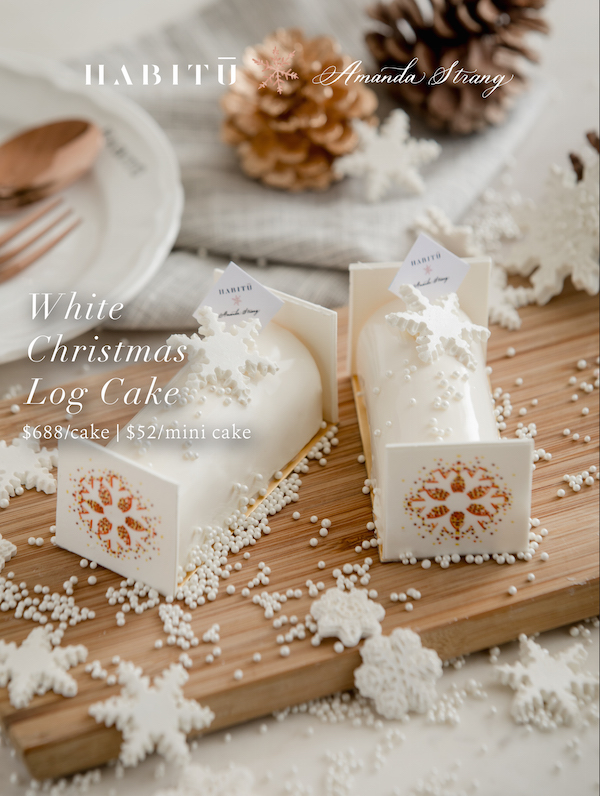 The White Christmas Log Cake, the highlight of Strang's collection
