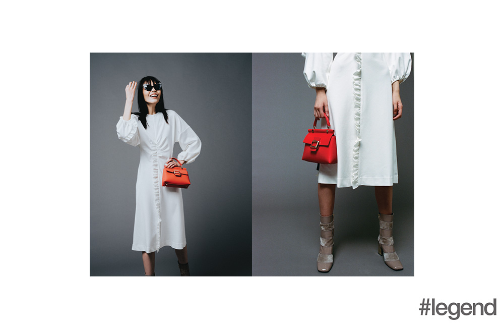 Dress by Tibi at NET-A-PORTER, bag by Roger Vivier, sunglasses by Prism by Tina Leung at On Pedder and shoes by Roger Vivier