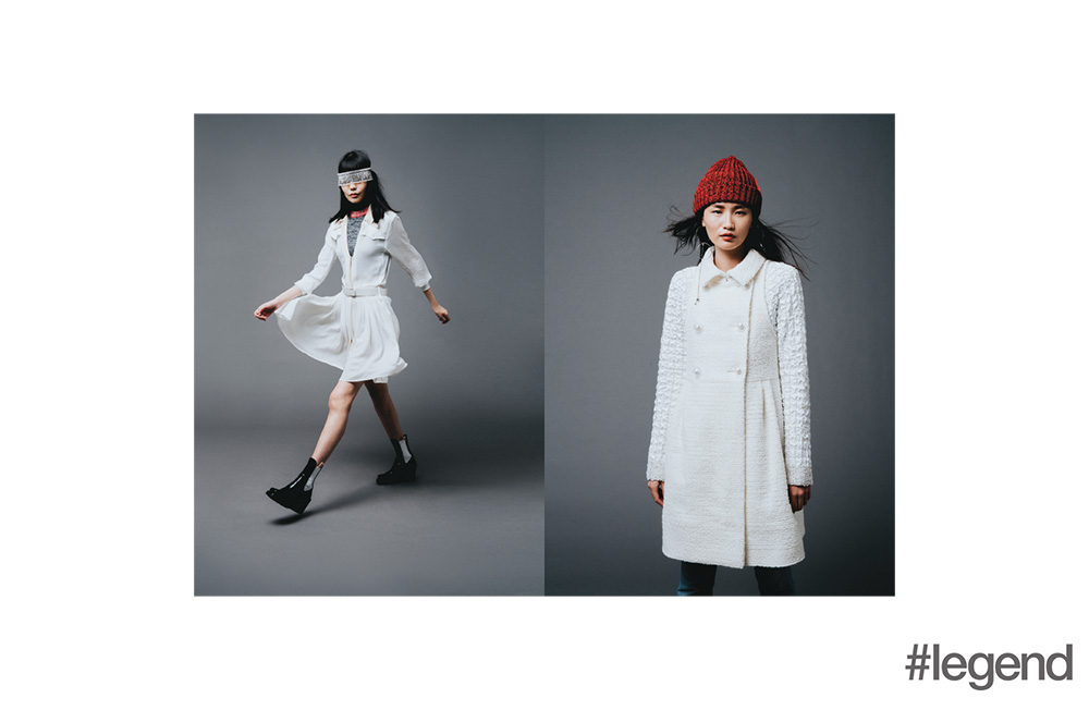 Left: Headband from Miu Miu and dress, sweater and shoes from Louis Vuitton; Right: Hat by Bernstock Speirs at Lane Crawford, earrings by Mounser at Lane Crawford, dress by Chanel and model's own jeans