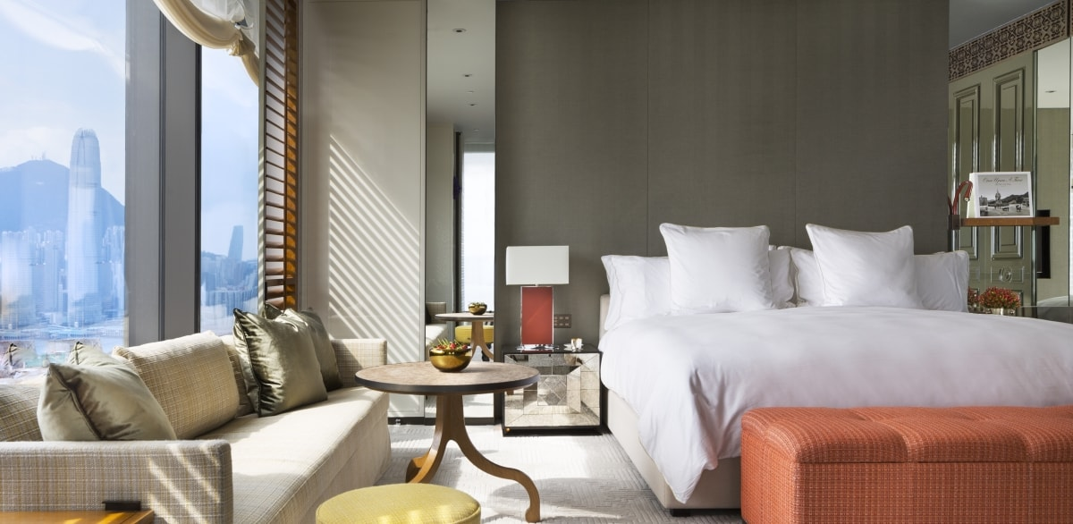 A guest room at the soon-to-be-open Rosewood Hong Kong