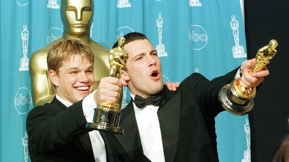 "Newcomers Matt Damon and Ben Affleck unexpectedly won Best Original Screenplay for ""Good Will Hunting"" in 1999"