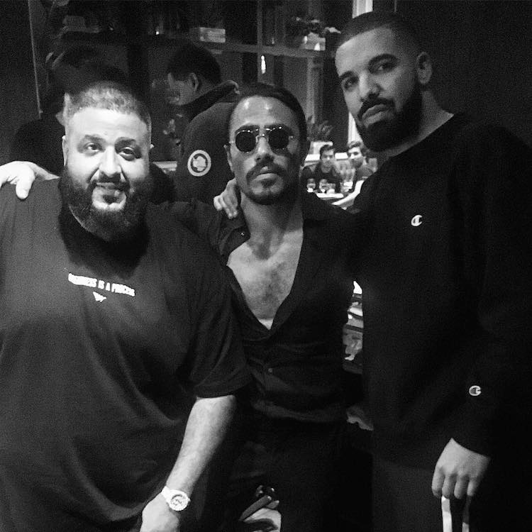 DJ Khaled, Gökçe and Drake (picture: @nusr_et on Instagram)
