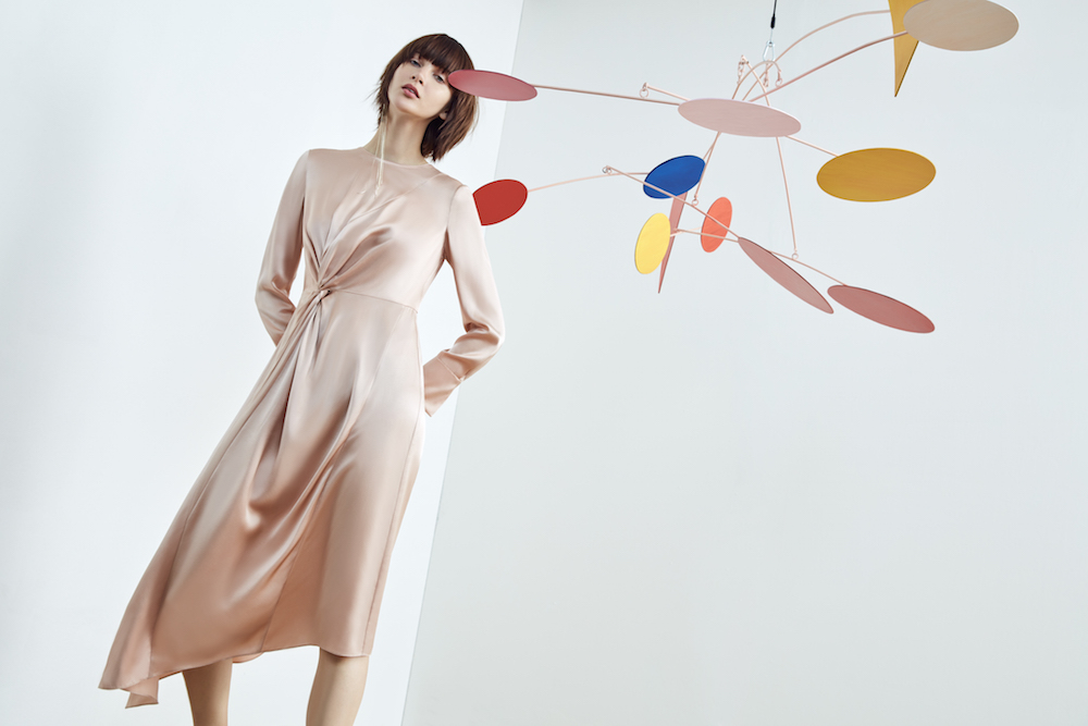 A dusty rose silk dress in Anagram's spring collection, inspired by the colour of a sunrise