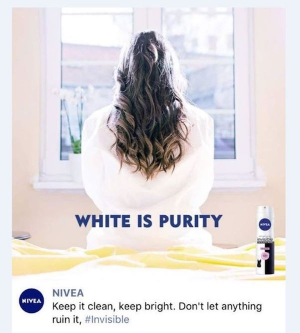 The advert was posted on Nivea's Facebook and removed shortly after