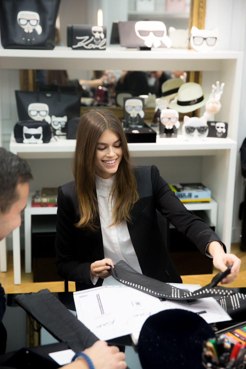 Kaia Gerber working on her collaboration with Lagerfeld (Photo: Romain Mayoussier/Karl Lagerfeld)