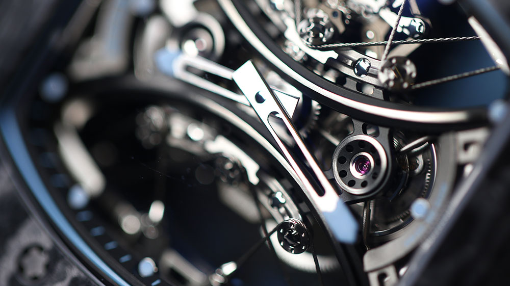 Close up of the suspension system on the Richard Mille RM 53-01
