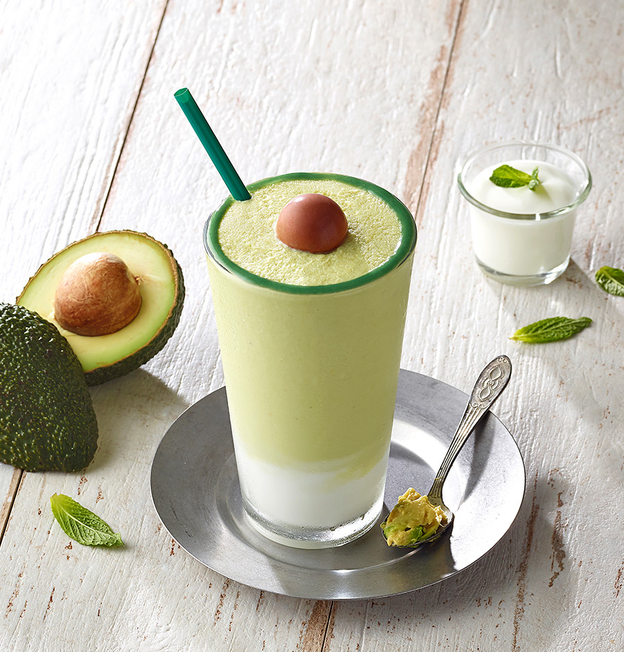 The drink is designed to look like a freshly sliced avocado. Photo: Starbucks Korea