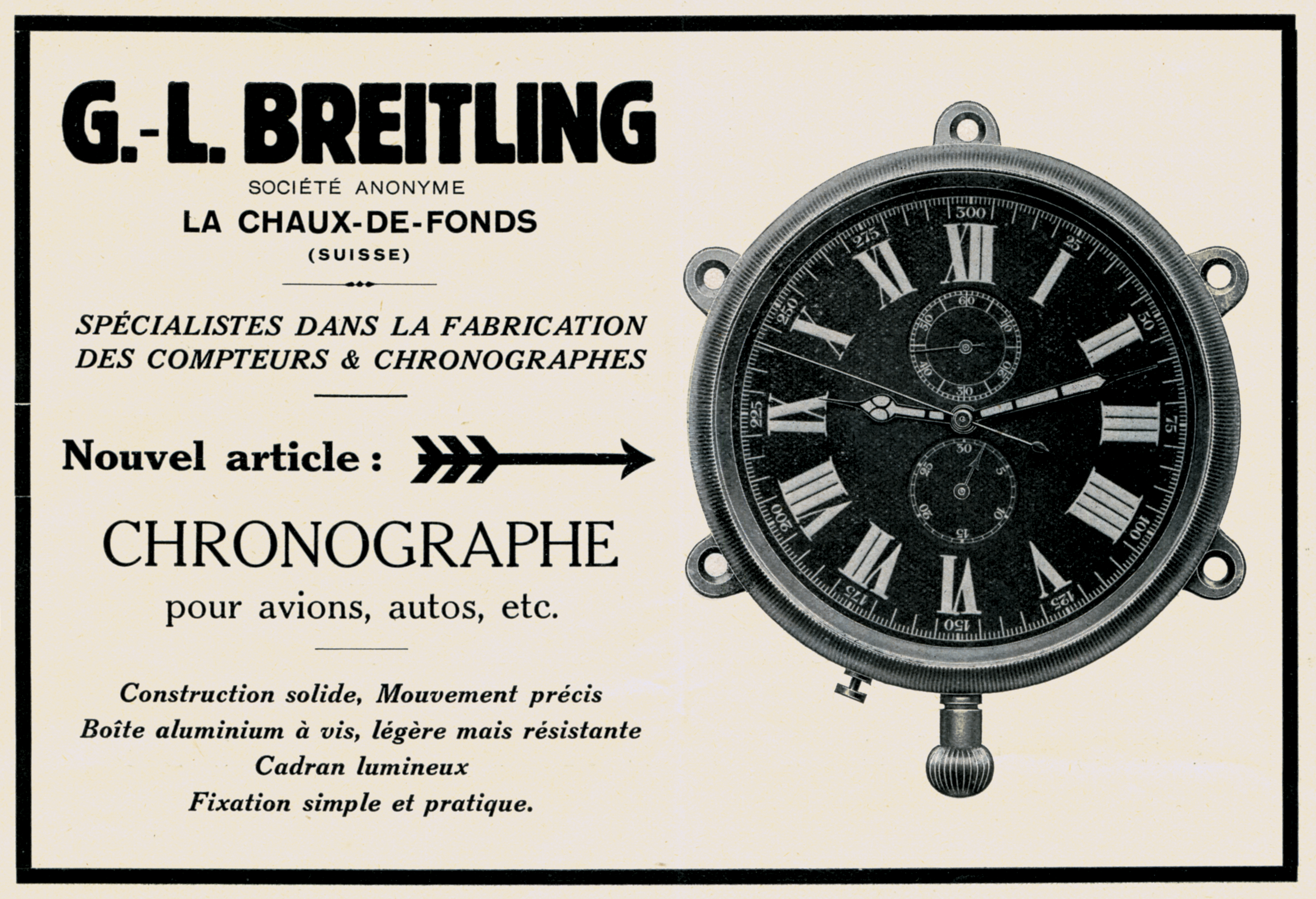 An advertisement from 1931 for an onboard chronograph made for aircraft or automobiles