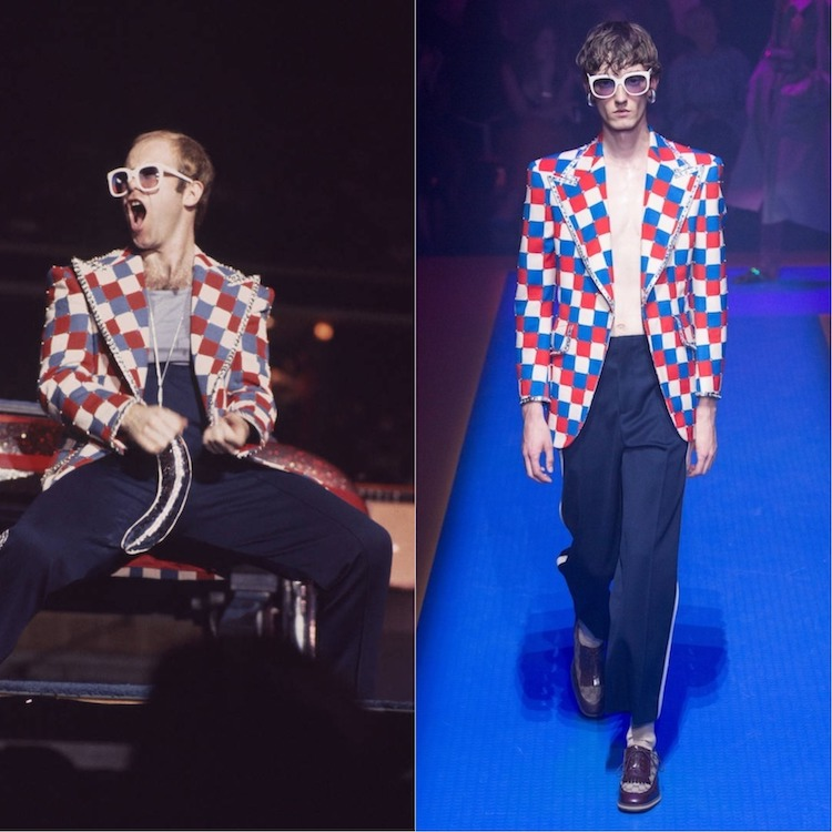 Left: Elton John (Photo: Tom Hill / Getty Images); Right: Gucci Spring/Summer 2018