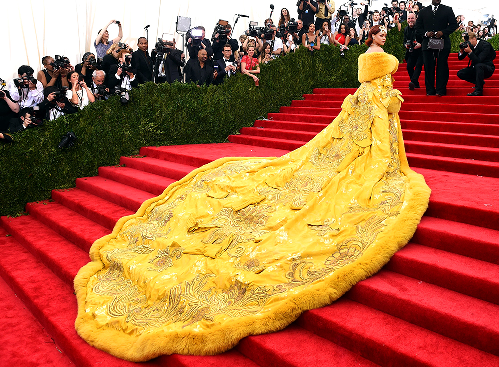 The famed yellow dress Rihanna wore to the Met Gala in 2015 (Photo: Timothy A Clary / AFP / Getty Images)