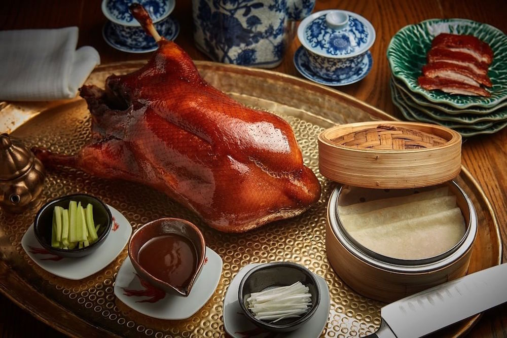 The famed Peking duck carving station at Duddell's (photo: @duddellshk)