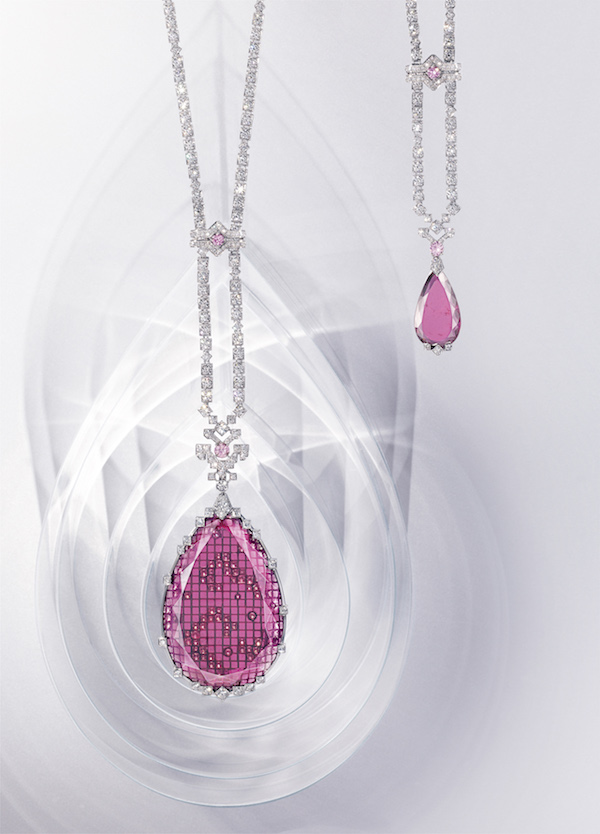 the Retba necklace in white gold, with one 91.15-carat and one 8.33-carat pear- shaped rubellites, pink and white brilliant-cut diamonds