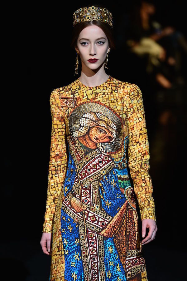 An outfit from Dolce & Gabbana's 2013 Catholic-inspired collection