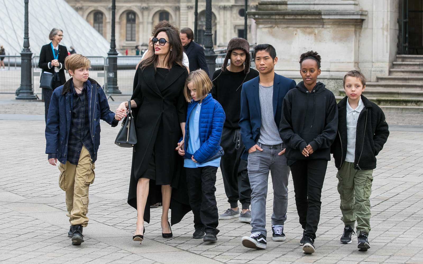 Jolie and her six kids during a family trip to Paris