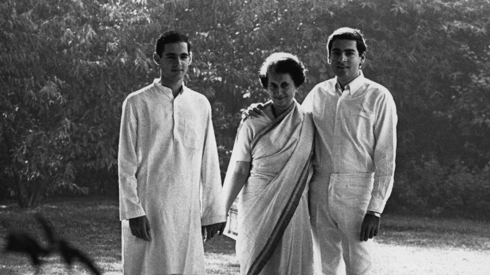Prime Minister Indira Gandhi with her sons Rajiv and Sanjay in 1967