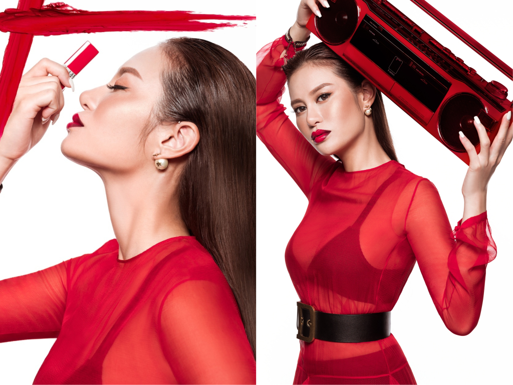 Elly wearing Rouge Dior Ultra Rouge #851 Ultra Rouge and #111 Ultra Night 47