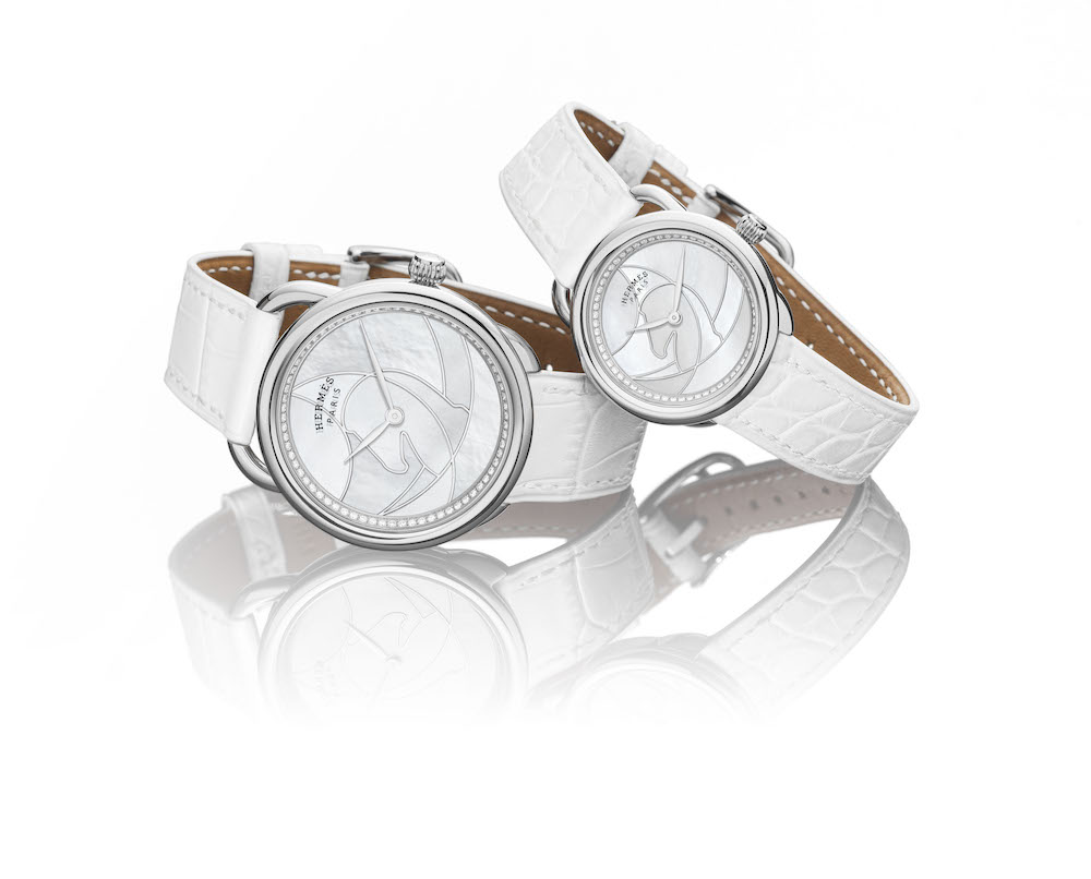 The Hermès Arceau Cavales in white 36 mm and 23 mm