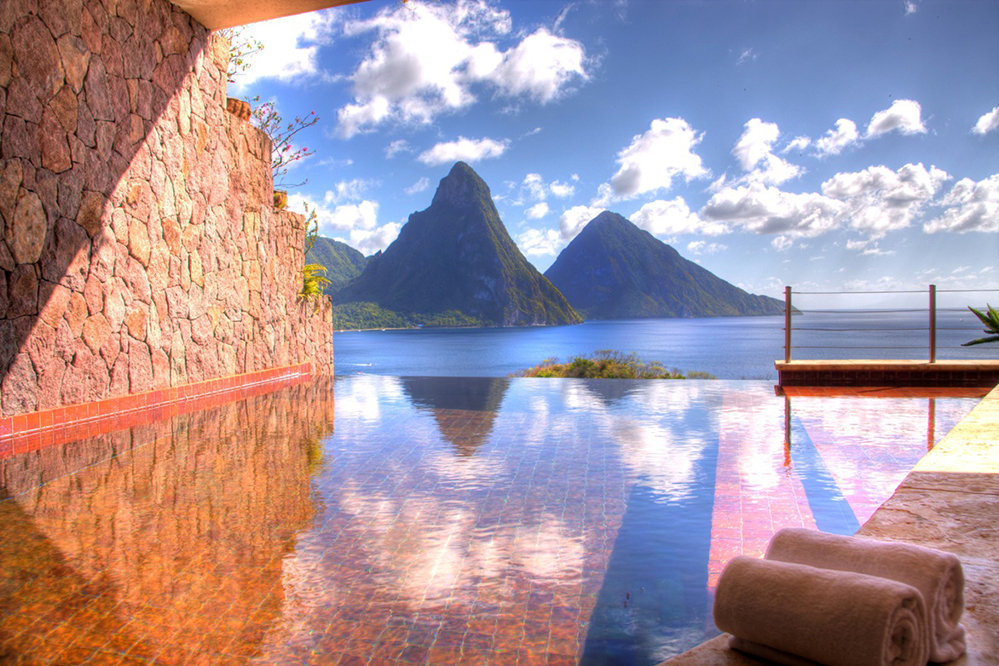 Resting Above The Caribbean Sea 24 Private Sanctuaries At Jade Mountain In St Lucia Each Boast Their Own Infinity Pool That Take Luxury And