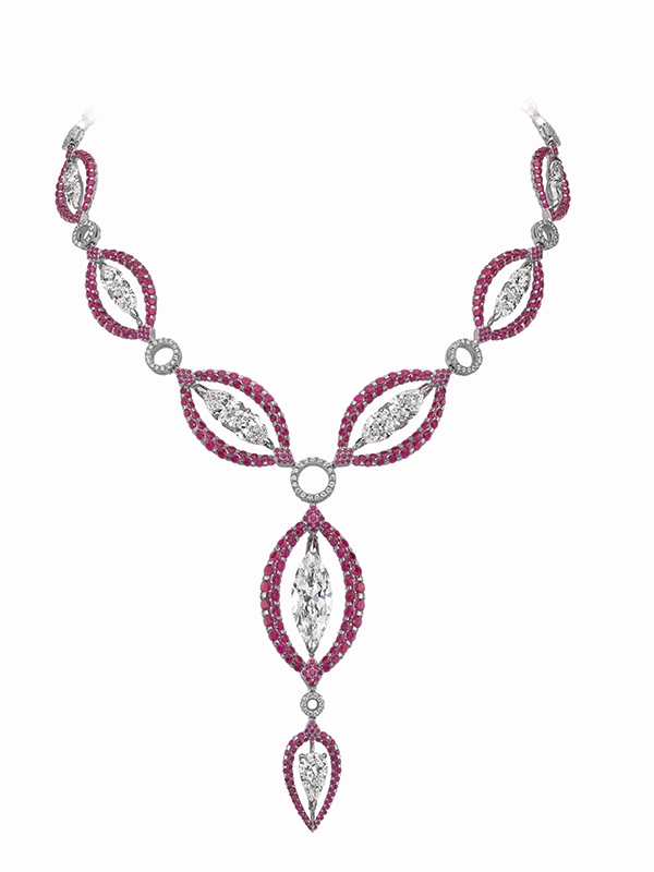 Diamond and ruby reversible necklace