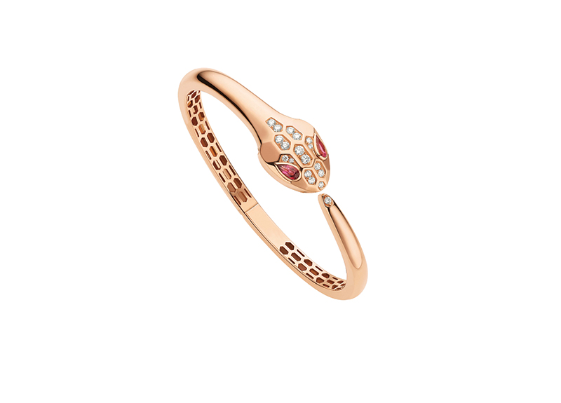 Serpenti pink gold bracelet with rubellite and diamonds