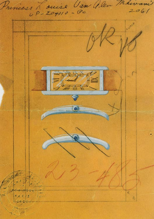 Design drawing for a watch created for Princess Mdivani, 1935. (Courtesy of Cartier New York archives)