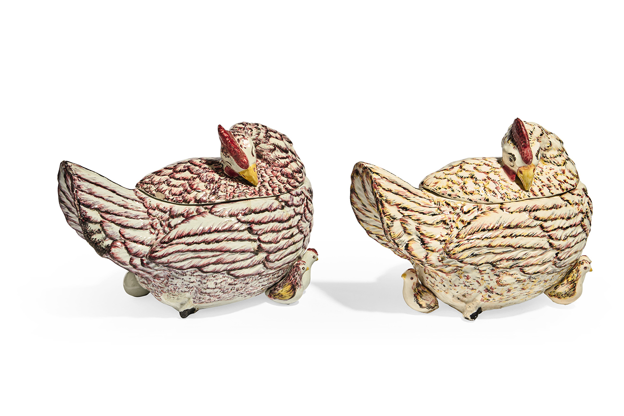 A matched pair of large continental earthenware hen tureens and covers, 19th century, acquired by the Duchess in circa 1980 (Courtesy: Sotheby's)
