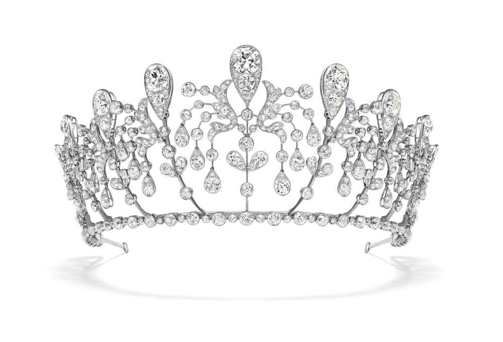 The platinum and diamond Bourbon-Parme tiara from 1919