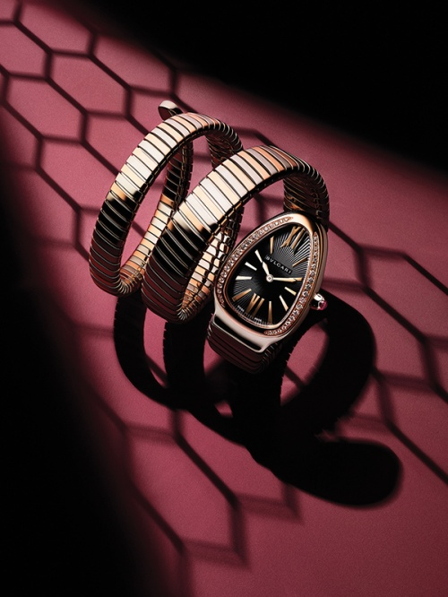 Serpenti Tubogas watch in 18k pink gold and steel with diamonds