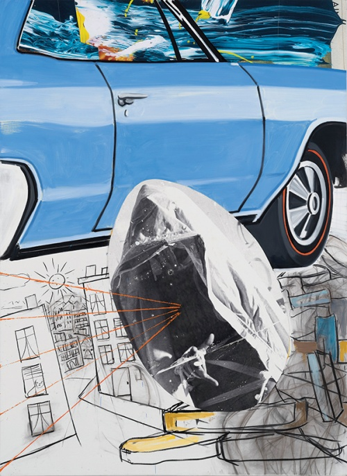 Buick-Town, 2016. Oil, acrylic, charcoal and archival digital transfer and print on linen (Artwork photo by artwork photo by John Berens, courtesy of the artist and Lehmann Maupin Hong Kong)