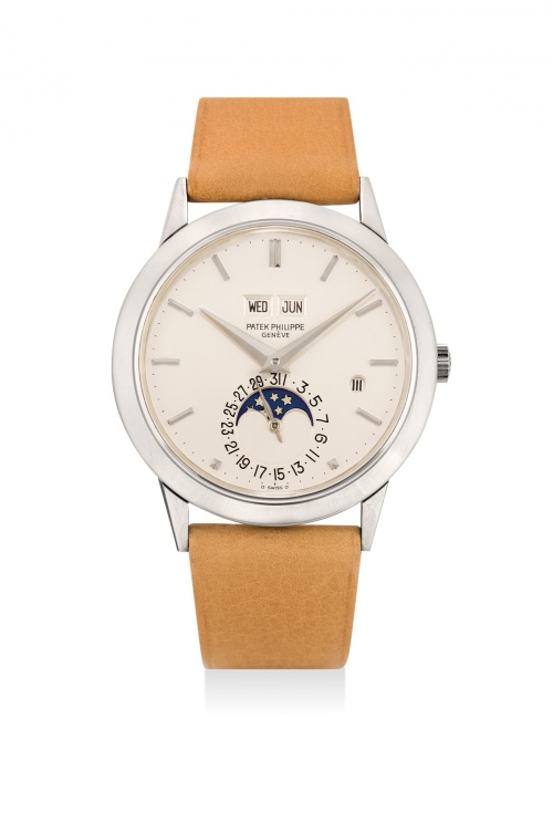 An extremely rare Patek Philippe white gold perpetual calendar wristwatch from 1985