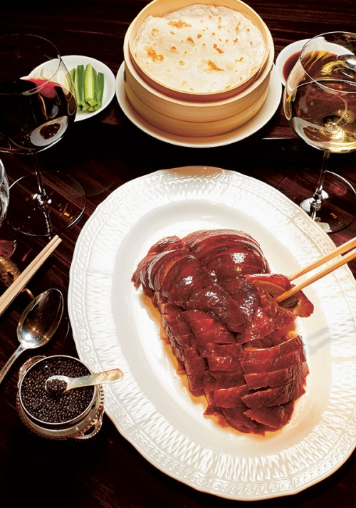 Peking duck is paired with caviar
