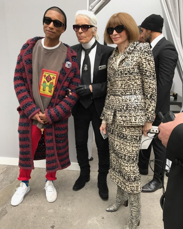 Pharrell poses with Karl Lagerfeld and Anna Wintour (photo c/o Instagram | @pharrell)