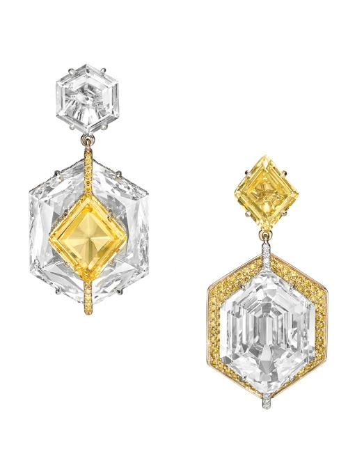 Boghossian Yellow and White Kissing Diamond Earrings