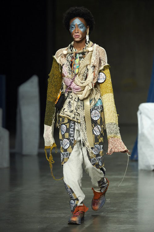 Post-industrial chic was the theme at Matty Bovan at Fashion East (photo c/o AFP)