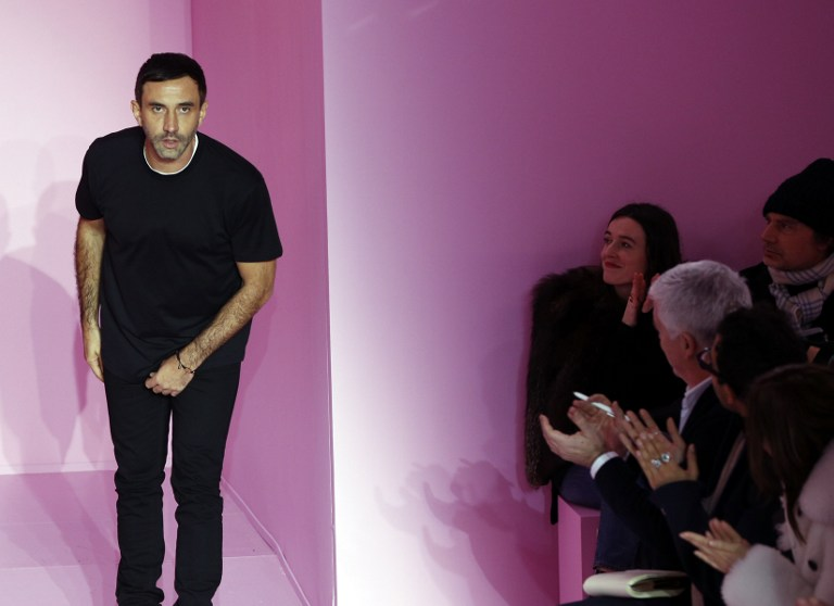 Riccardo Tisci at the end of his show for Givenchy during men's Fashion Week (Photo by Francois Guillot / AFP)