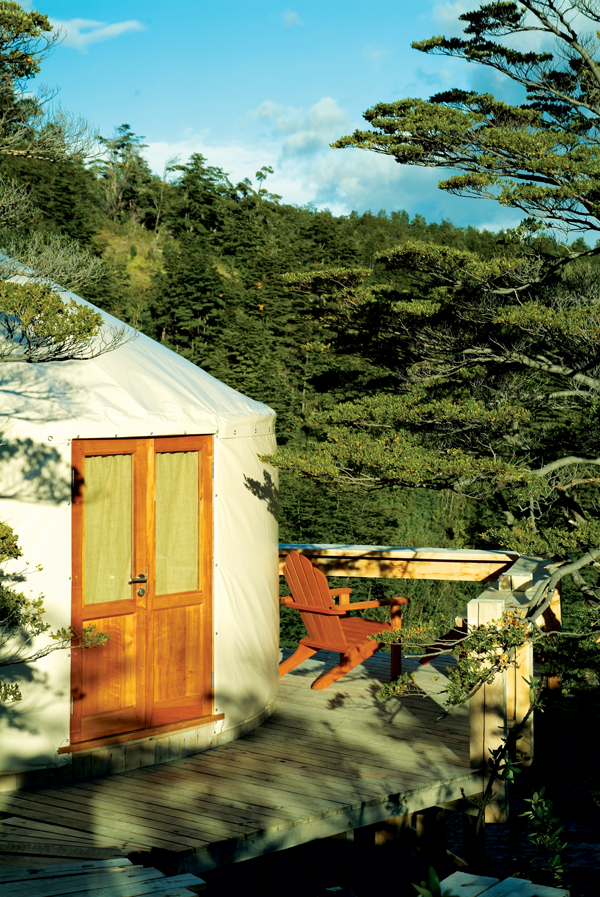 The outside of a Patagonia Camp yurt