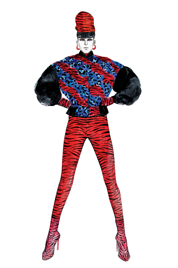 An illustrated look from H&M x Kenzo