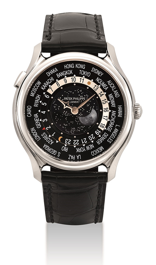 Limited edition 18k white gold automatic world time wristwatch with moon phases, made to commemorate the 175th anniversary of Patek Philippe in 2014