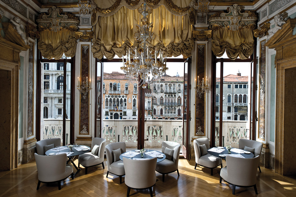 A dining room at the Aman Venice, Italy, which is set in a 16th-century palazzo on the Grand Canal