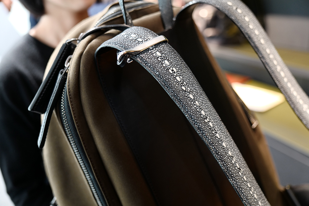 Sting ray backpack straps at Berluti (Photo by Calvin Wang)