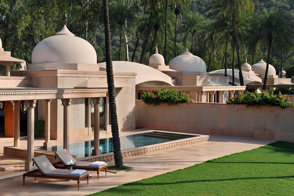 The pool pavilion terrace at Amanbagh