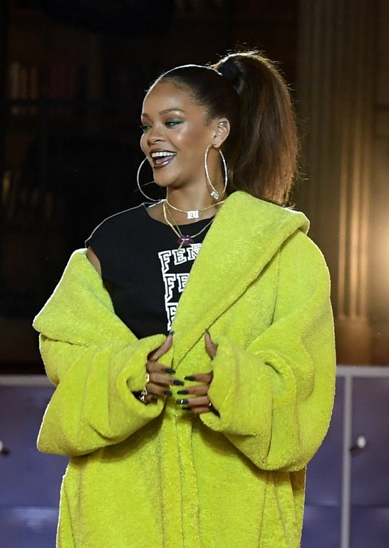 Rihanna at her Fenty Collection for Puma runway presentation (photo by Alain Jocard / AFP)