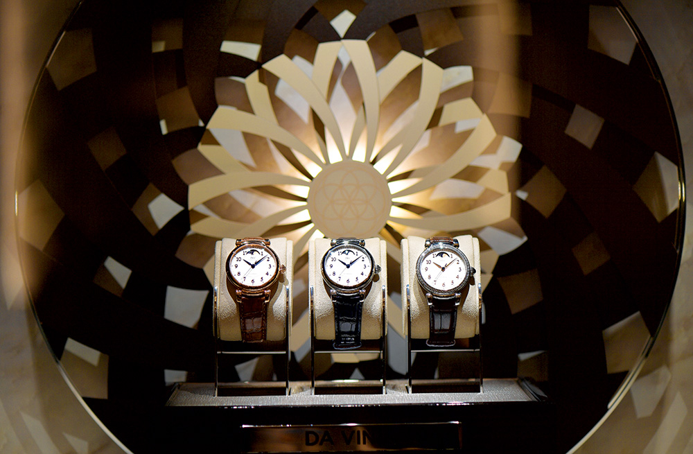 Da Vinci watches on display at IWC's booth during SIHH