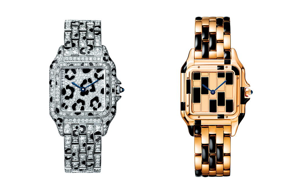 Two brightly adorned models of the Panthère de Cartier