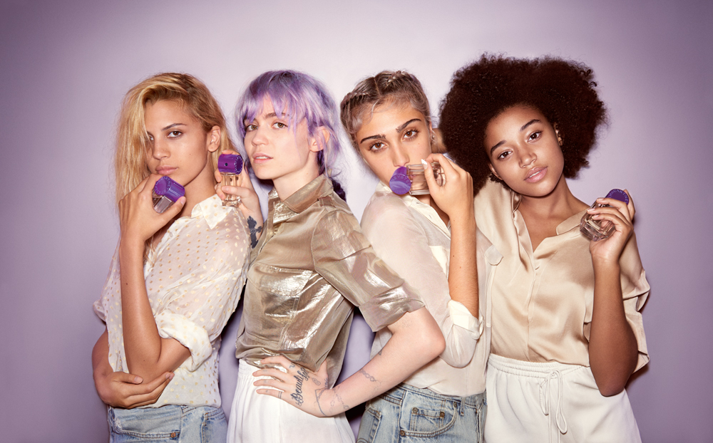 Kenya Kinski, Grimes, Lola Leon and Amandla Stenberg are the faces of the POP fragrance