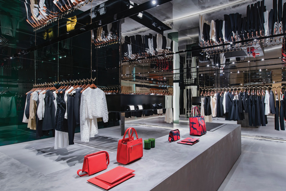 The interior of her newly opened store at The Landmark in Hong Kong