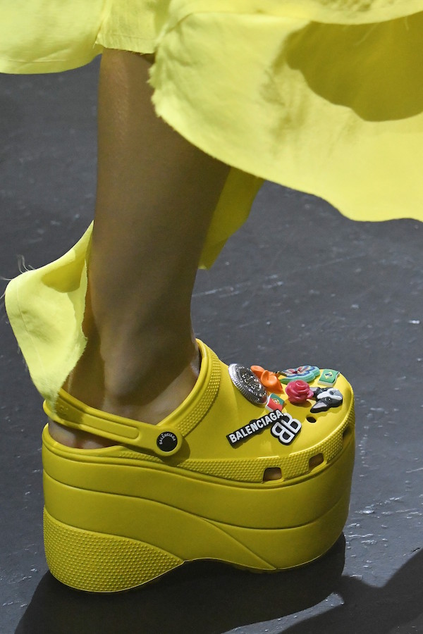Yellow on yellow is the only way forward with 10cm tall Crocs on your feet (image courtesy of Balenciaga)