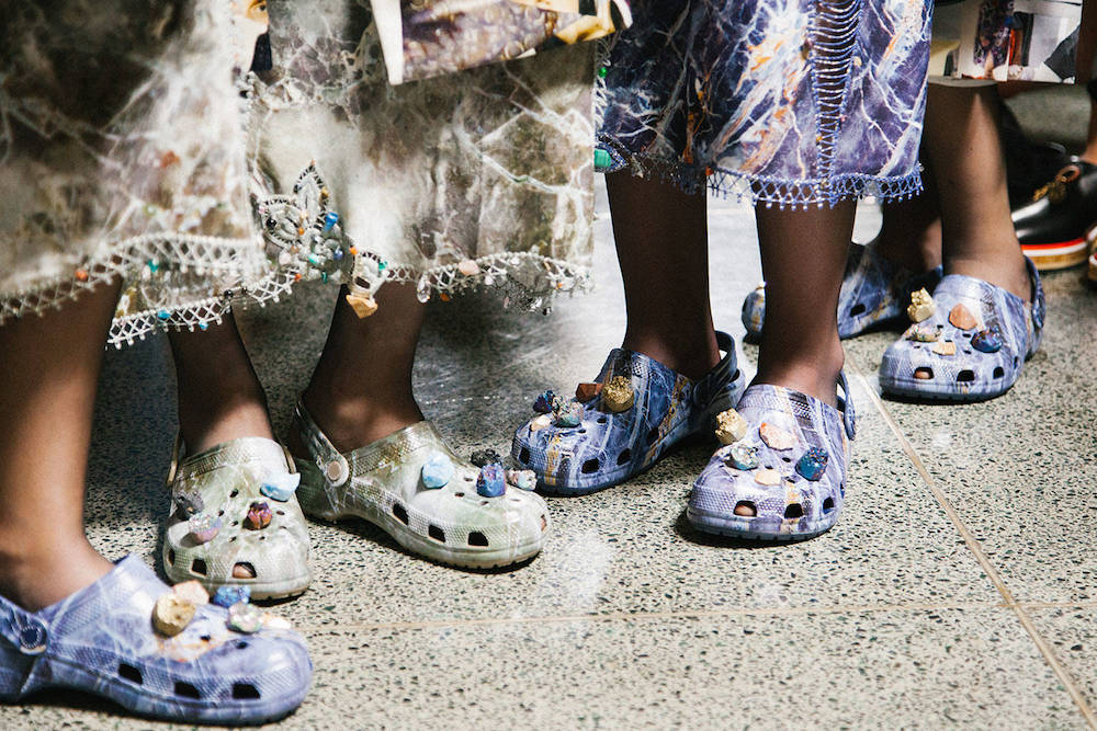 Earthy Crocs backstage at Christopher Kane's Spring / Summer 2017 show (image courtesy of Christopher Kane)