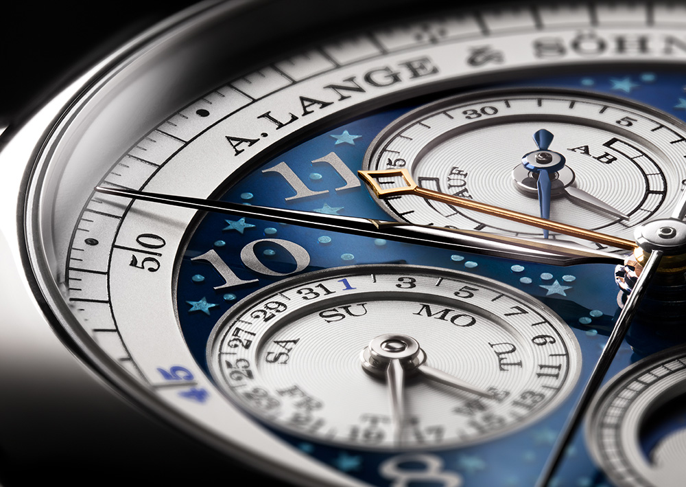 Close up of the 1815 Rattrapante Perpetual Calendar Handwerkskunst