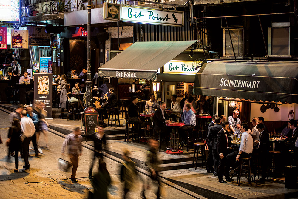 Happy hour in Lan Kwai Fong Hong Kong